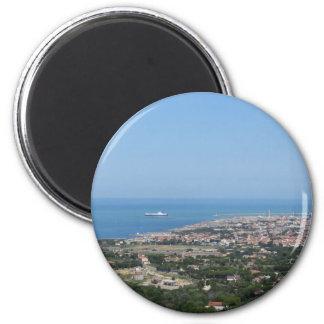 Spectacular aerial panorama of Livorno city Magnet