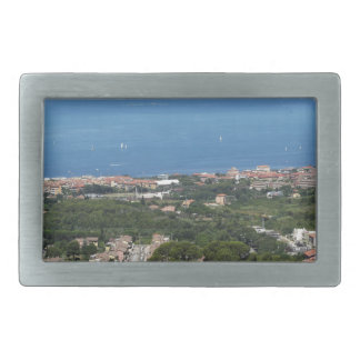 Spectacular aerial panorama of Livorno city Rectangular Belt Buckle