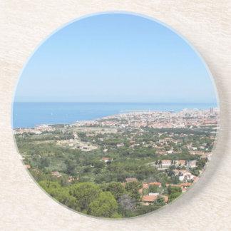 Spectacular aerial panorama of Livorno city Sandstone Coaster