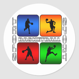 Spectacular Basketball Classic Round Sticker
