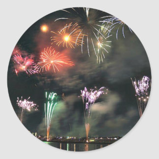 Spectacular Fireworks Classic Round Sticker
