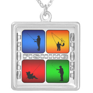 Spectacular Fishing Silver Plated Necklace