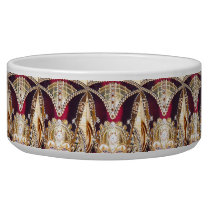 SPECTACULAR JEWELED DOG BOWL, RED AND GOLD BOWL