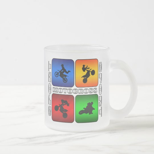 Spectacular Motocross Frosted Glass Coffee Mug