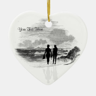 Spectacular Ocean Waves and Beach #2 Double-Sided Heart Ceramic Christmas Ornament