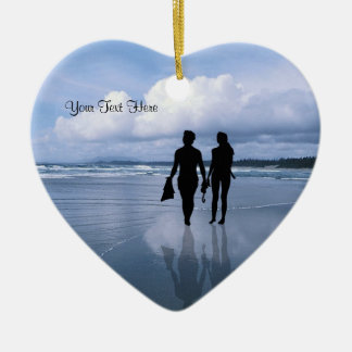 Spectacular Ocean Waves and Beach Double-Sided Heart Ceramic Christmas Ornament