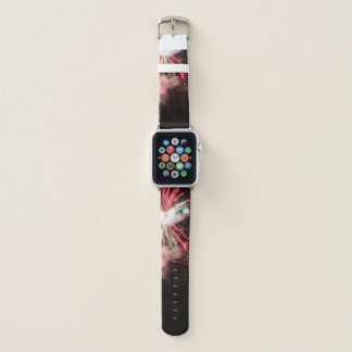 Spectacular Red and green Fireworks in black sky Apple Watch Band