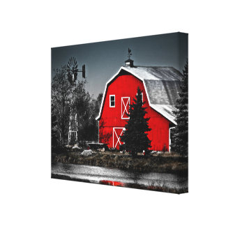 Spectacular Red Barn - Wrapped Canvas