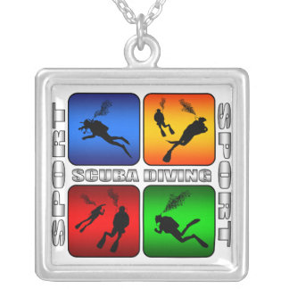 Spectacular Scuba Diving Silver Plated Necklace