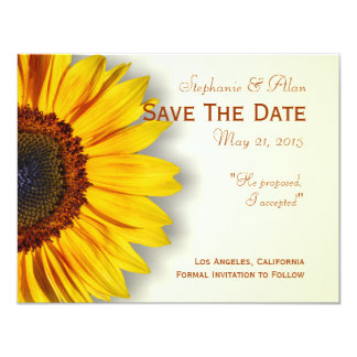 "Spectacular Sunflower Save The Date Card 4.25"" X 5.5"" Invitation Card"