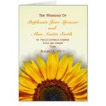 Spectacular Sunflower  Wedding Program Card