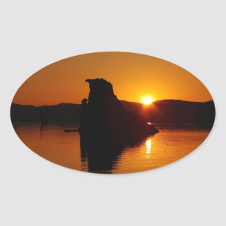 SPECTACULAR SUNRISE AT MONO LAKE, CA OVAL STICKER