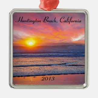 Spectacular Sunset at Huntington Beach Christmas Tree Ornament