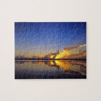 Spectacular Sunset over the Little Muddy River Jigsaw Puzzle