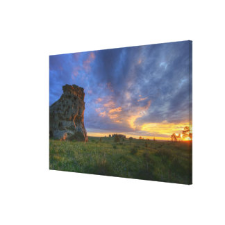Spectacular sunset skies at Medicine Rocks Canvas Print
