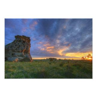 Spectacular sunset skies at Medicine Rocks Photographic Print