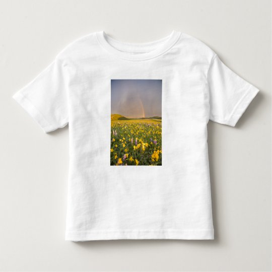 Spectacular wildflower meadow at sunrise in 2 toddler t-shirt