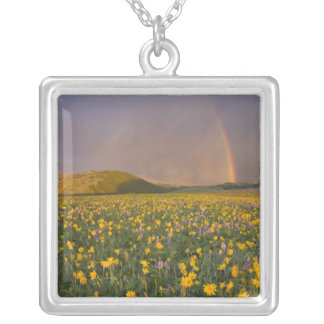 Spectacular wildflower meadow at sunrise in the 2 square pendant necklace