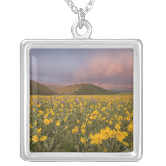 Spectacular wildflower meadow at sunrise in the square pendant necklace