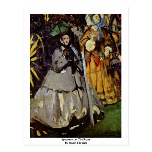 Spectators At The Races By Manet Edouard Postcard