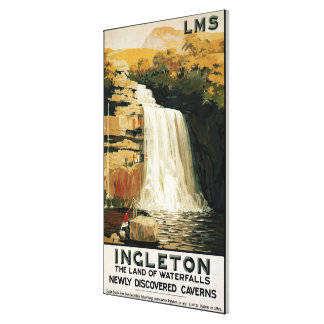 Spectators Climb on Waterfall Railway Poster Gallery Wrap Canvas