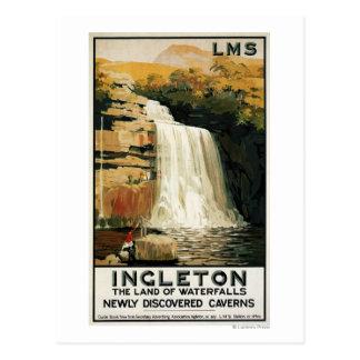Spectators Climb on Waterfall Railway Poster Post Card