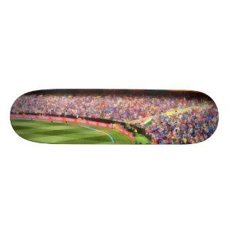 Spectators in a stadium skateboard deck
