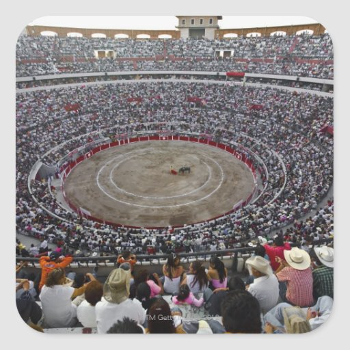 Spectators watching a bullfight in a bullring, square stickers