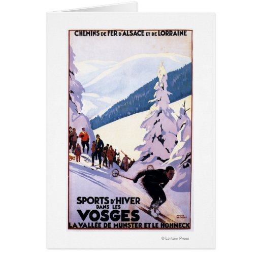 Spectators Watching Skier Poster Greeting Card