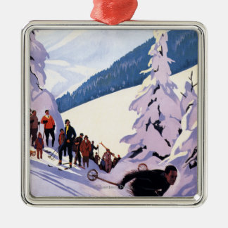 Spectators Watching Skier Poster Square Metal Christmas Ornament