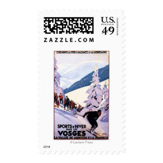 Spectators Watching Skier Poster Postage Stamps