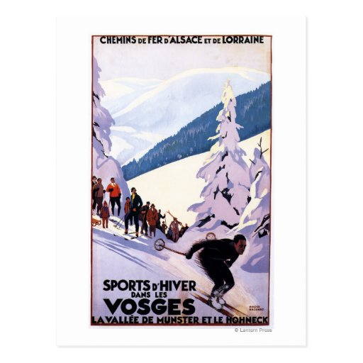 Spectators Watching Skier Poster Post Card