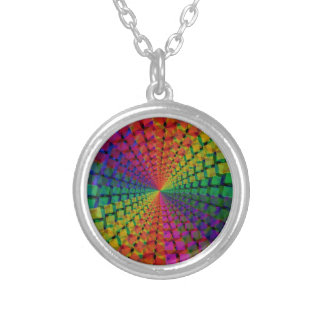 spectral background round pendant necklace