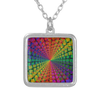 spectral background square pendant necklace