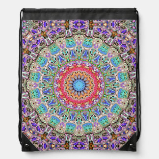 Spectral Concentric Pattern Drawstring Backpack