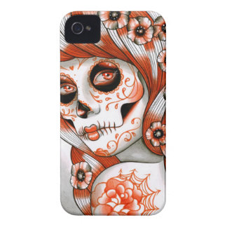 Spectrum Series - Orange Sugar Skull Girl iPhone 4 Case