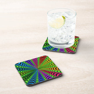 SPECTRUM Spiral, Visual Illusion, Rainbow / Green Drink Coaster