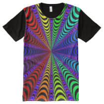 SPECTRUM Spiral, Visual Illusion, Rainbow / Purple All-Over-Print T-Shirt