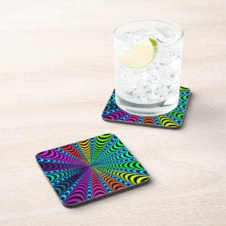 SPECTRUM Spiral, Visual Illusion, Rainbow / Teal Drink Coaster