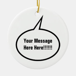 Speech Balloon Double-Sided Ceramic Round Christmas Ornament