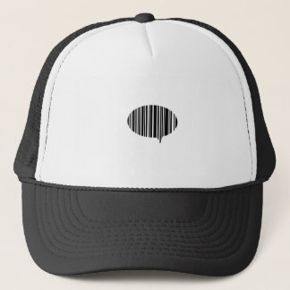Speech bubble bar code trucker hat