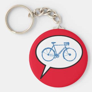 speech bubble & bike, biking keychain