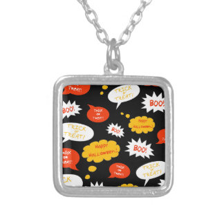 speech bubble halloween silver plated necklace