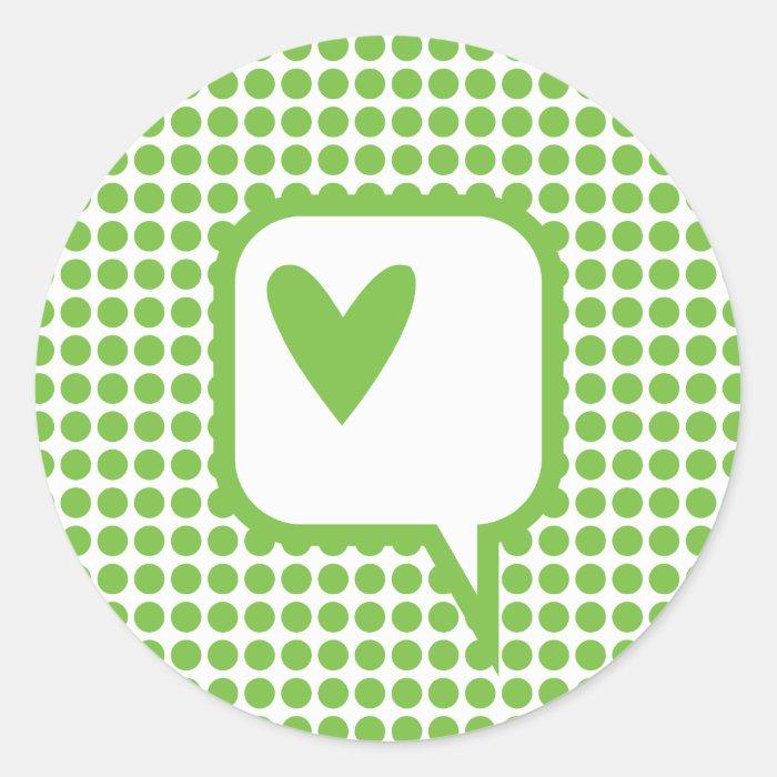 speech bubble heart on green dots round stickers