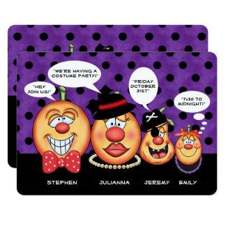 Speech Bubble Pumpkin Family | Halloween Party Card