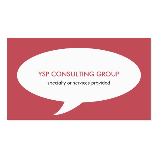 Speech bubble red creative network professional business cards
