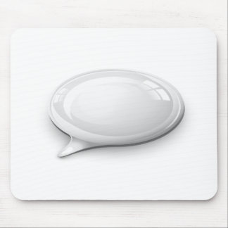 Speech bubble white and glossy mouse pad