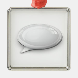Speech bubble white and glossy square metal christmas ornament