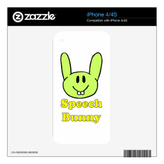 Speech Bunny in green Decals For The iPhone 4