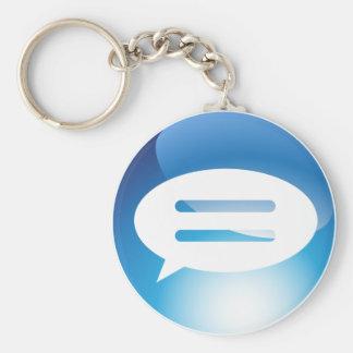 Speech Communication Bubble Blue Button Basic Round Button Keychain